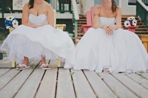 brides sitting on a deck