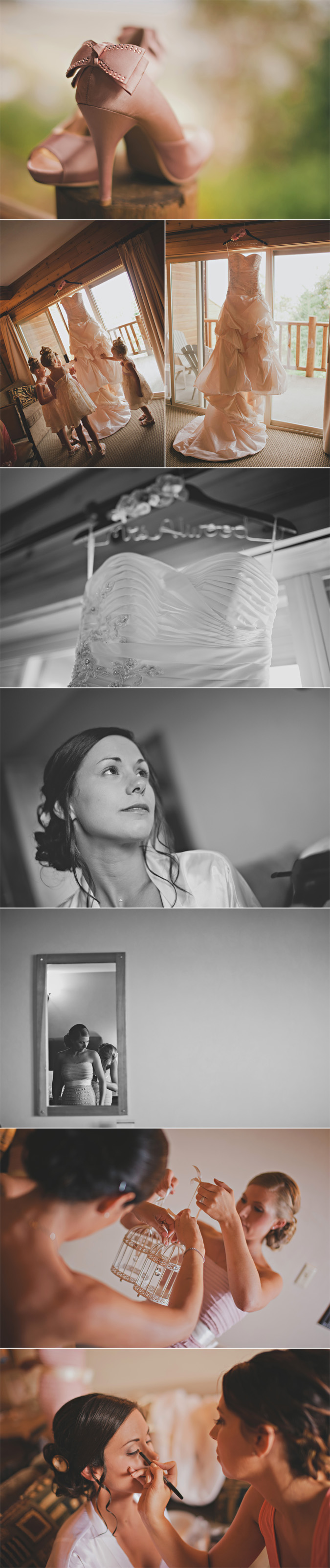 bride getting ready on her wedding day, at tigh na mara, parksville, bc