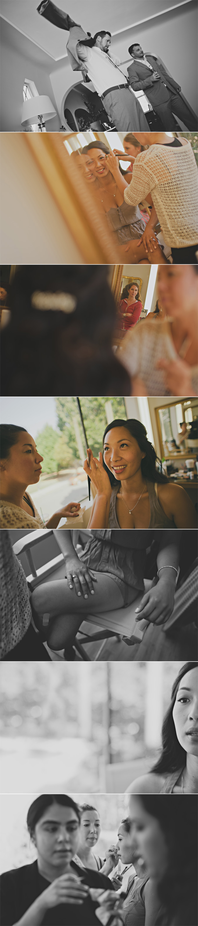 bride getting her hair & makeup done with her bridesmaids, vancouver, bc