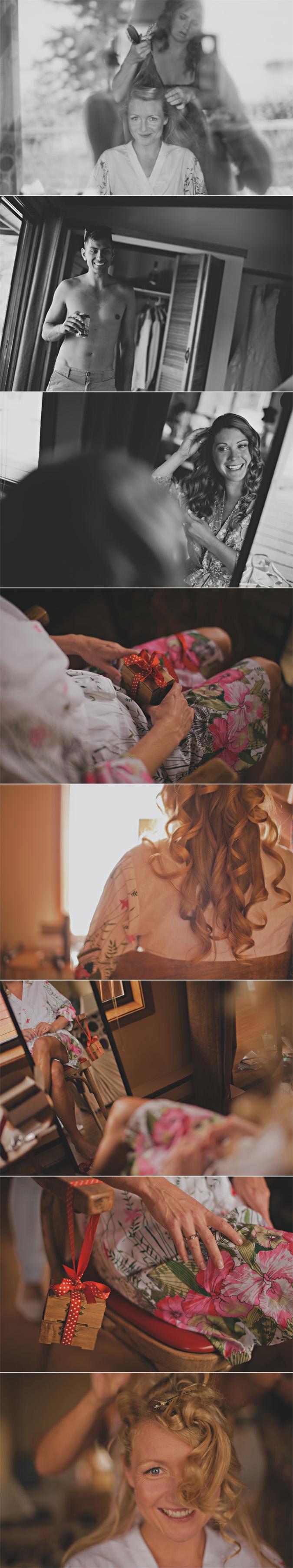 bride getting ready on her wedding day on hornby island, bc