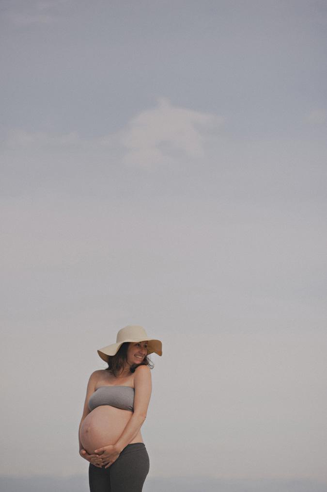 pregnant woman on saratoga beach, vancouver island, bc