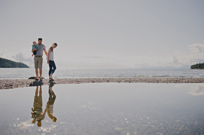 family refleted in a tidal pool, hornby island, bc