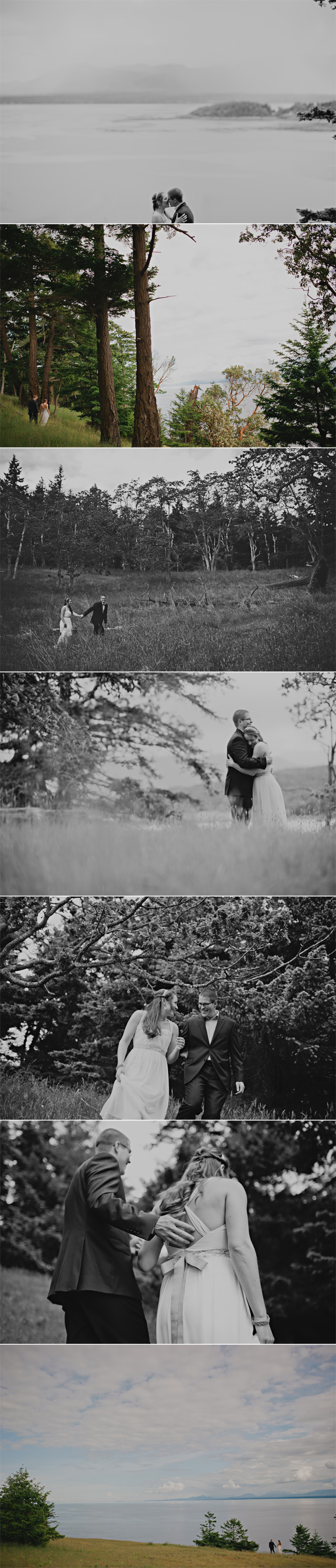 intimate portraits with a bride & groom on the cliffs of helliwell park, hornby island, bc