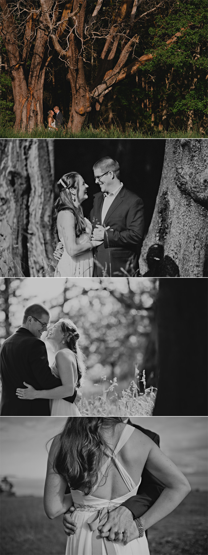 candid portraits of a bride & groom at helliwell park, hornby island, bc
