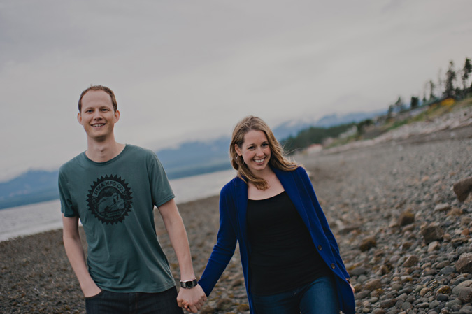creative engagement photo of a couple on the beach, cape lazo, comox, bc