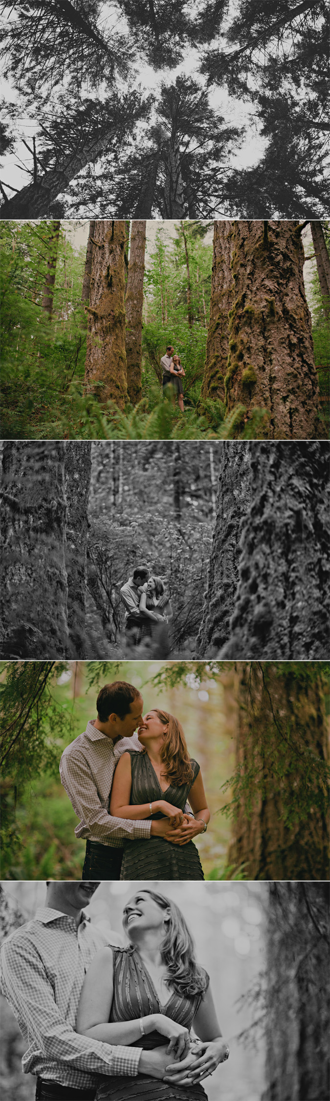 creative engagement photos of a couple in seal bay provincial park, comox, bc
