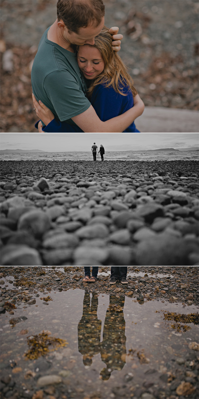 creative engagement photos of a couple on the beach, cape lazo, comox, bc