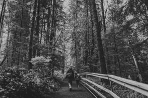 family travels - campbell river-father & kid walking along forest trail