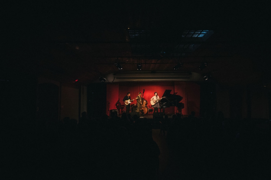female singer songwriter - on stage - hornby island - with her band