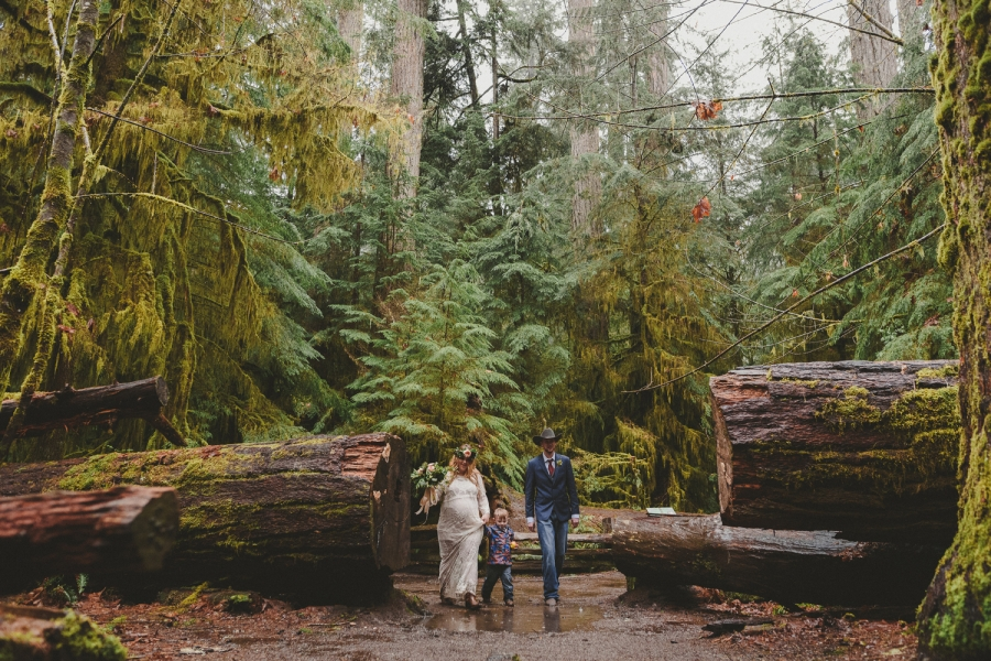 young couple walking through cathedral grove in the rain with their young son on their wedding day - rainy day elopement-cathedral grove vancouver island