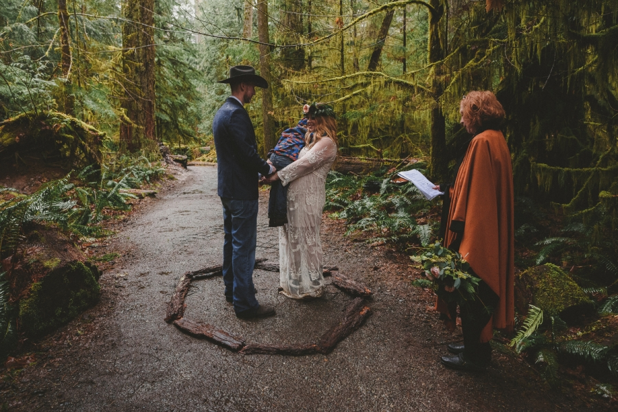intimate wedding ceremony in cathedral grove old growth forest