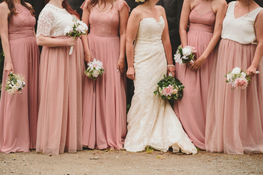 strathcona park lodge wedding bride and bridesmaids in blush and white