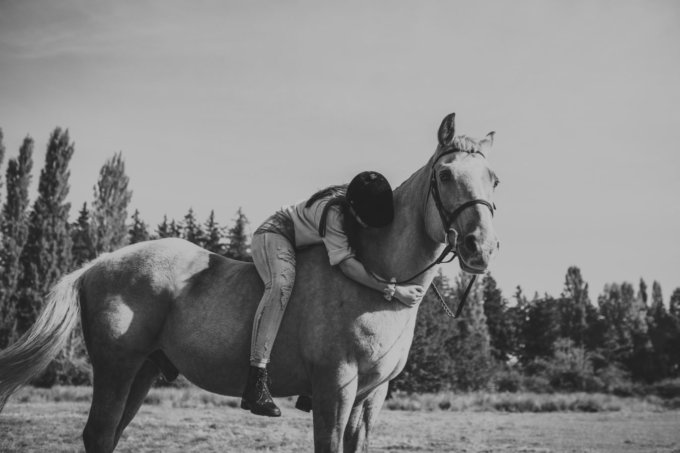 teenage girl hugging her horse while sitting in the saddle