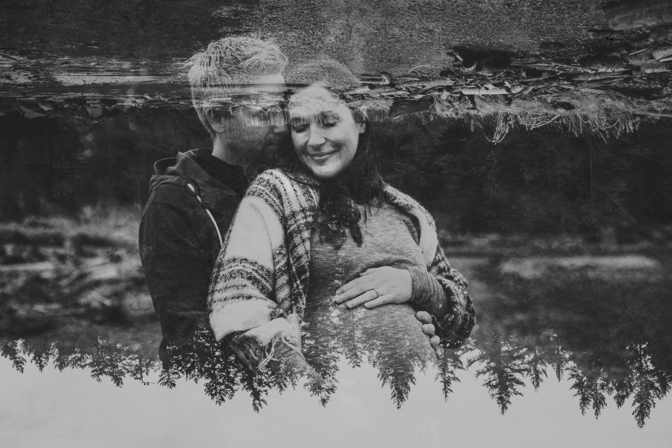 double exposure of a pregnant woman and her man embracing with trees and beach exposed over them