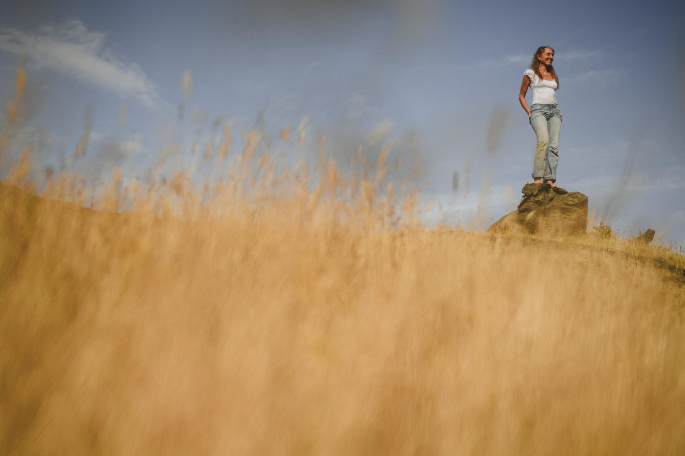 looking up at a woman standing on a large rock surrounded by tall yellow grass and blue sky