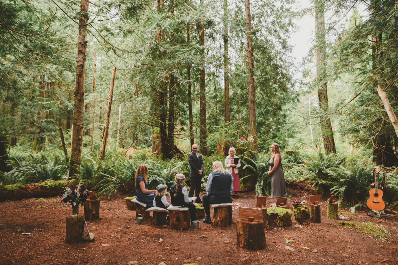 intimate wedding ceremony in the forest